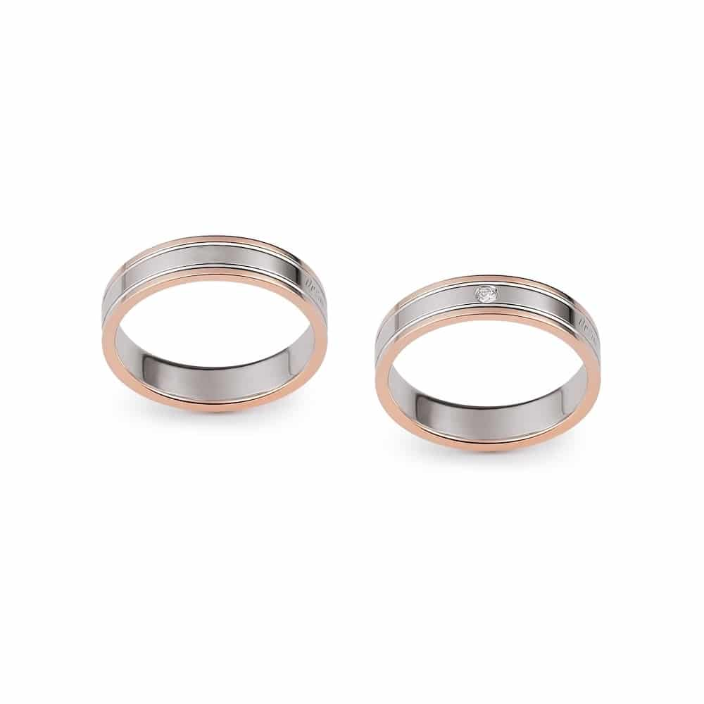 Classic Flat Bicolor Gold Wedding Ring With Engraved Edges With Or