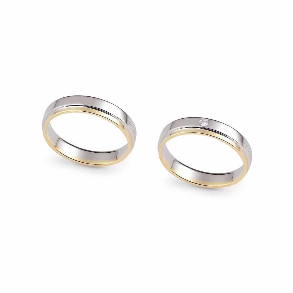 FE316Classic Double Circle Bicolor Gold Wedding Ring Band, With Or Without  Diamonds